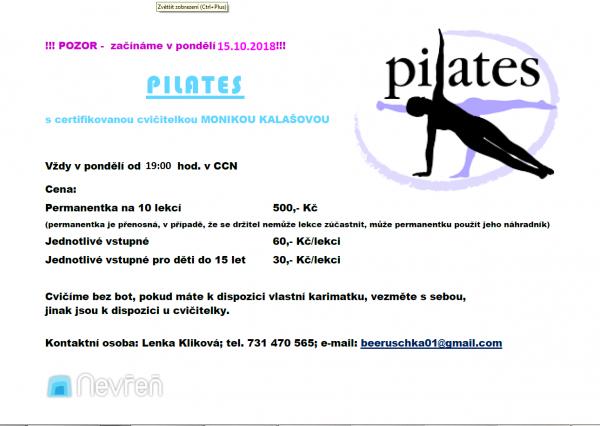 pilates - leták říjen 2018