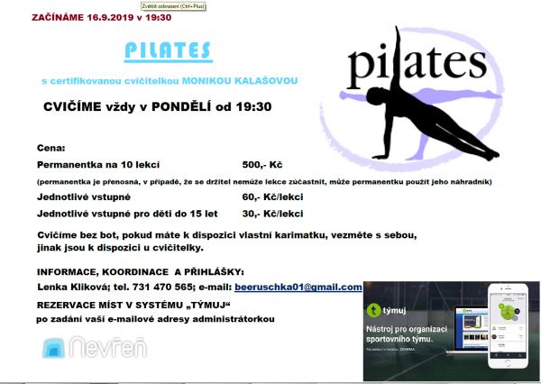 pilates - leták září 2019